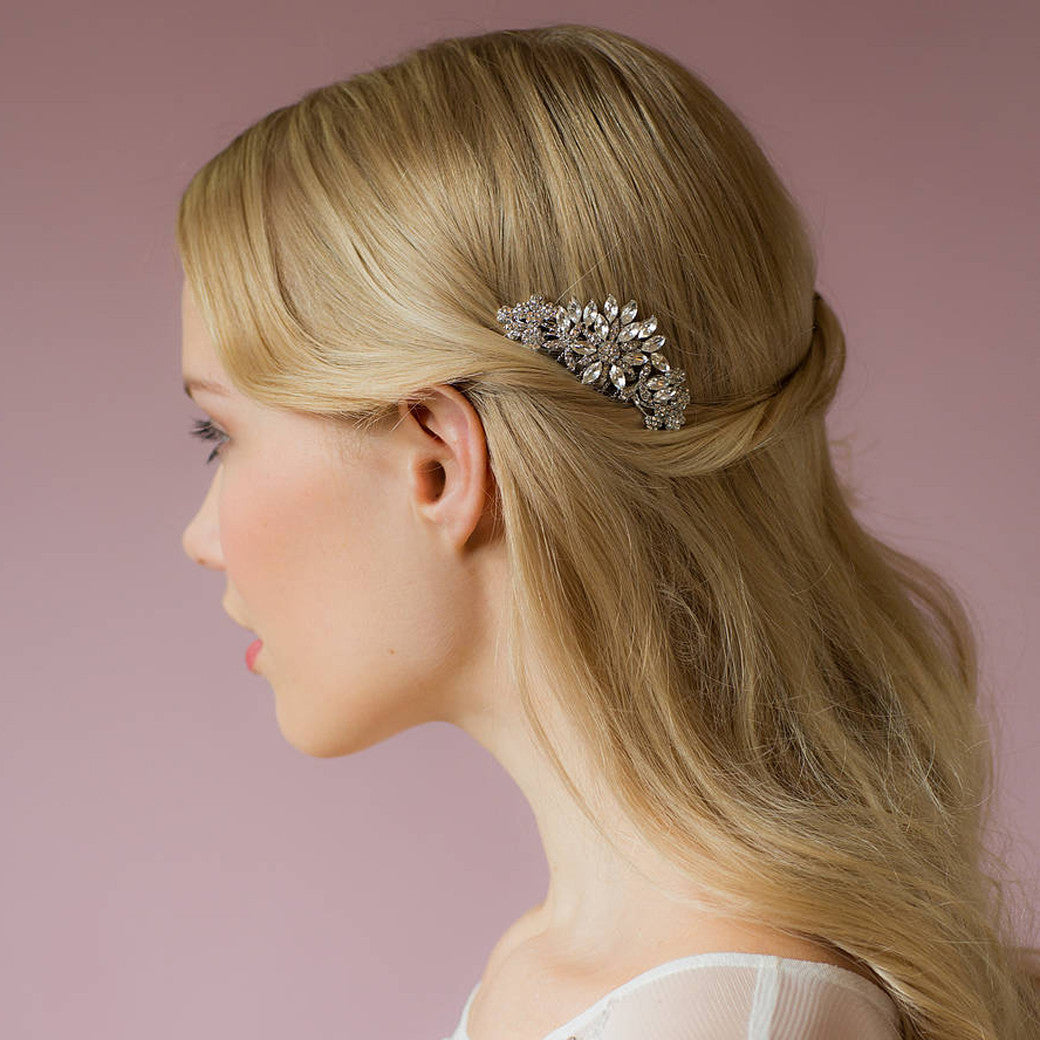 Bette silver crystal hair comb