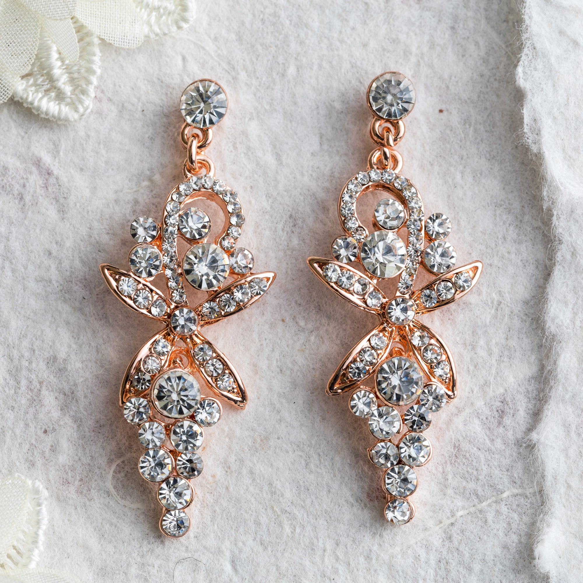 Elle crystal and rose gold earrings