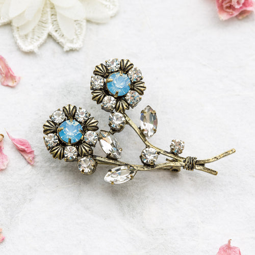 Elsie blue double flower brooch