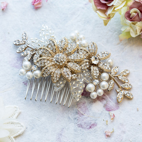 Esme gold crystal hair comb
