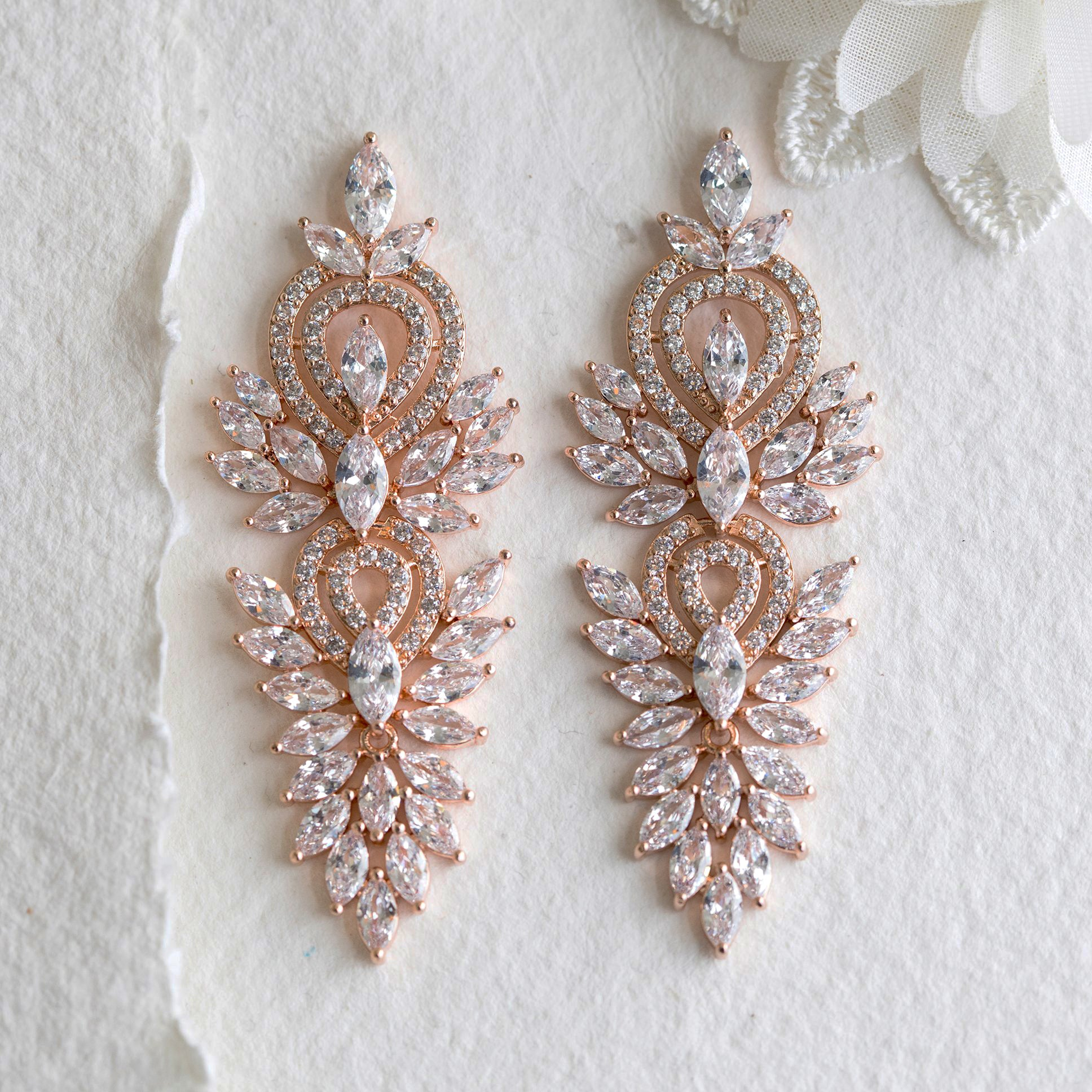 Fara crystal statement rose gold earrings