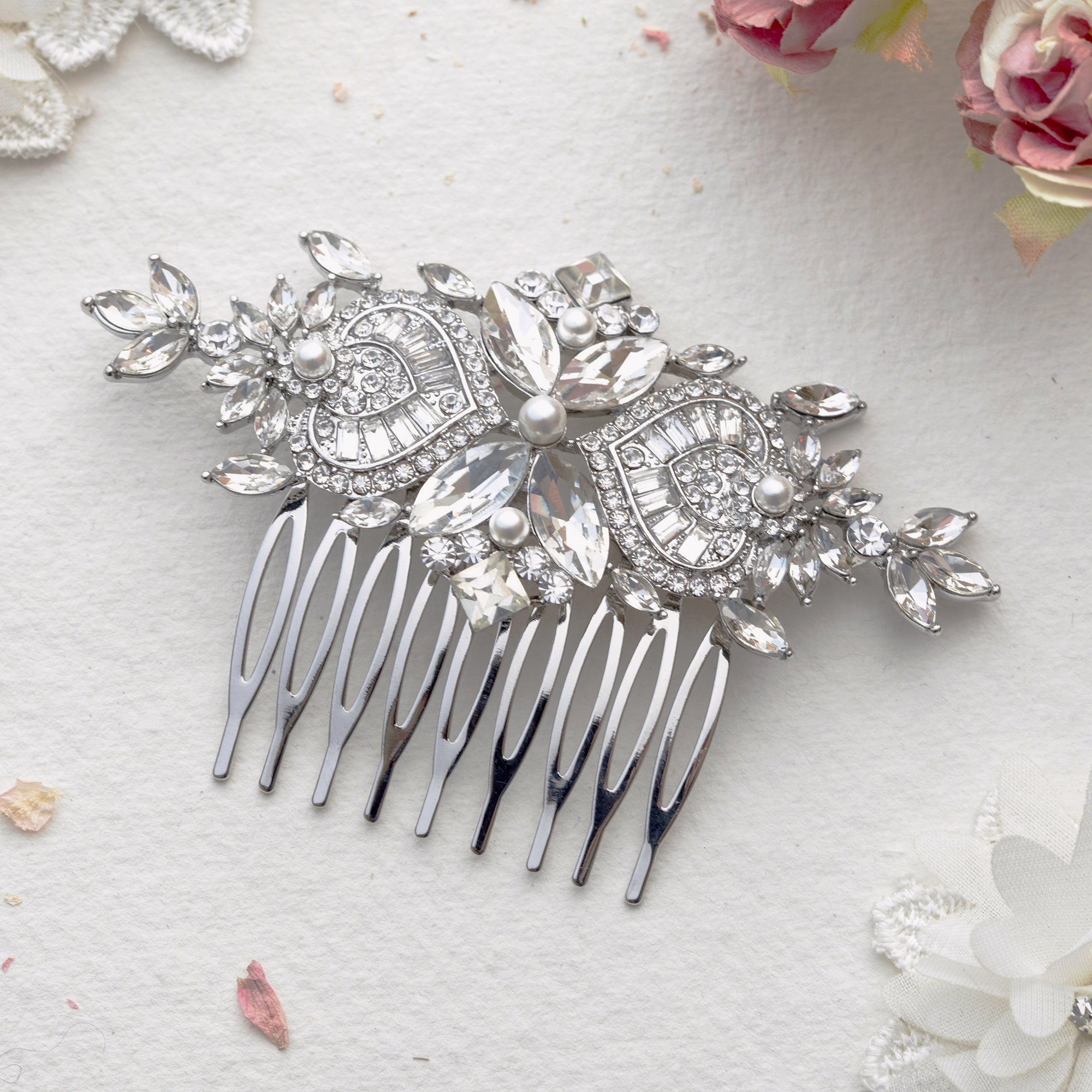 Fiorella crystal gold hair comb