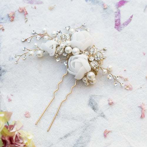 Freya pearl and silk flowers gold hair pin