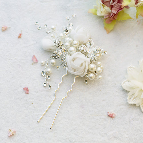 Freya pearl and silk flowers silver hair pin
