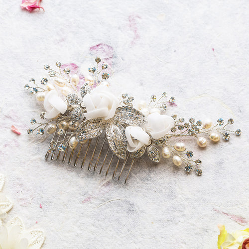 Freya pearl and silk flowers gold hair comb