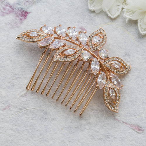 Helena rose gold hair comb