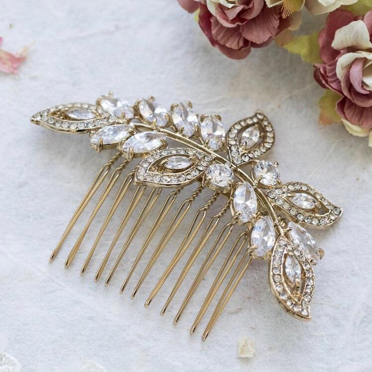 Helena silver crystal hair comb