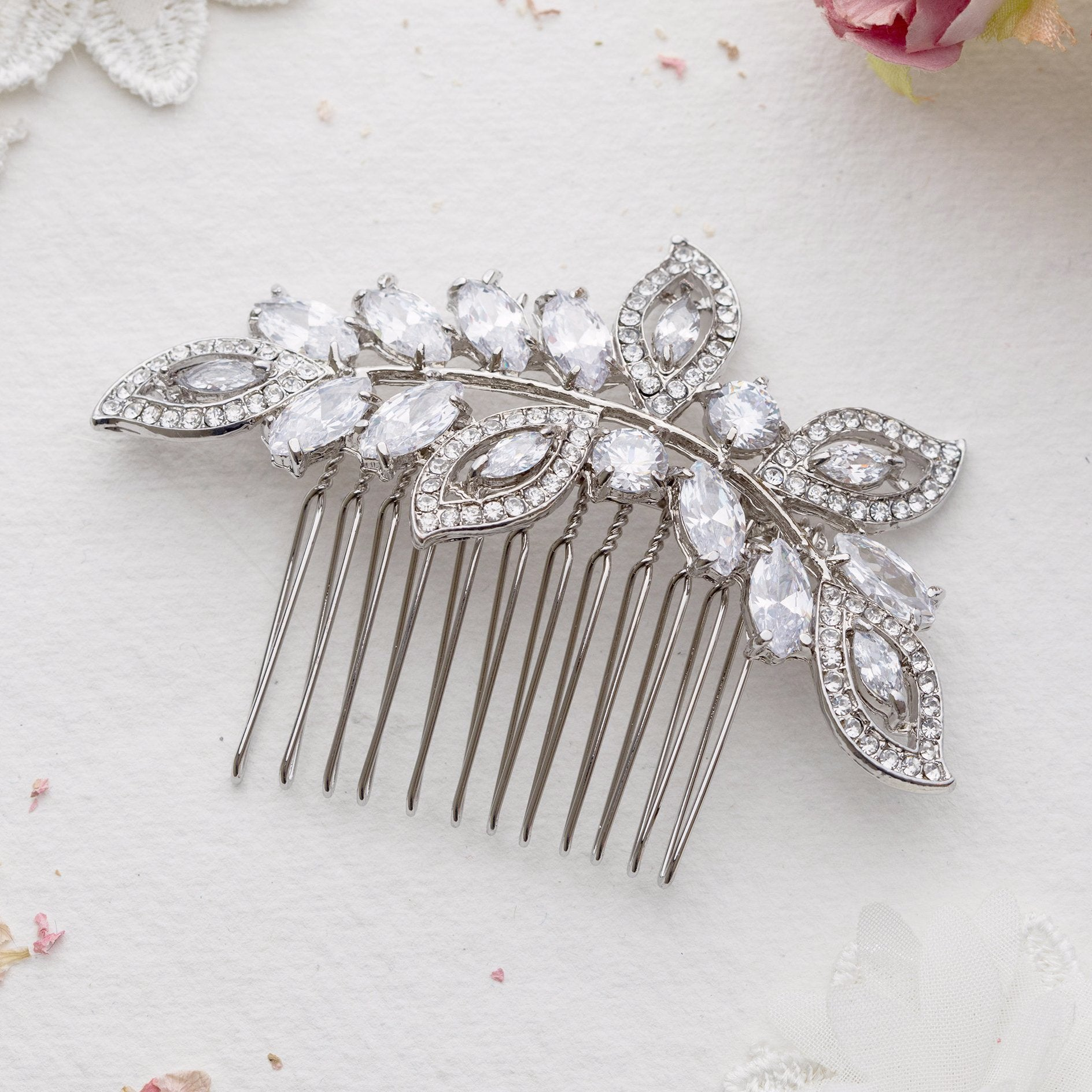 Helena silver crystal and pearl hair comb