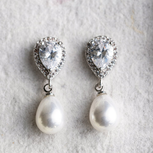 Hettie crystal and pearl earrings