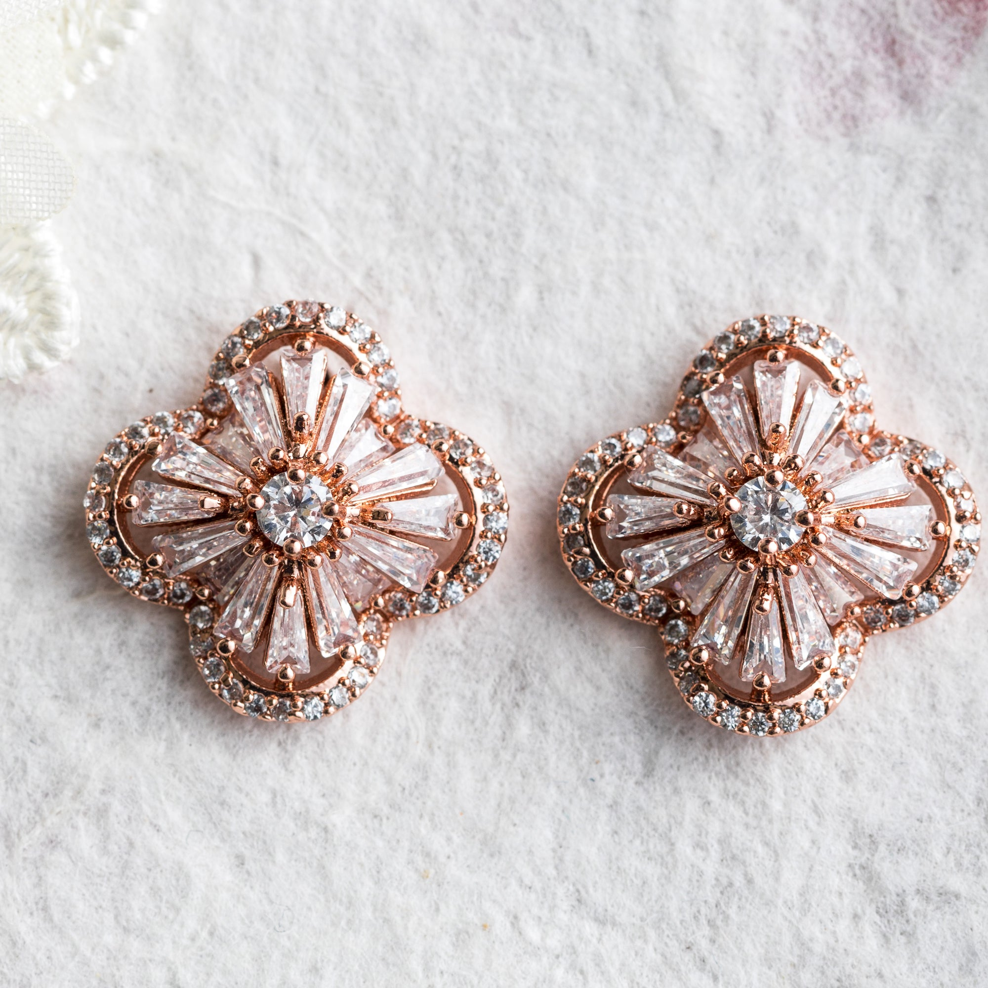 Hina gold crystal stud earrings