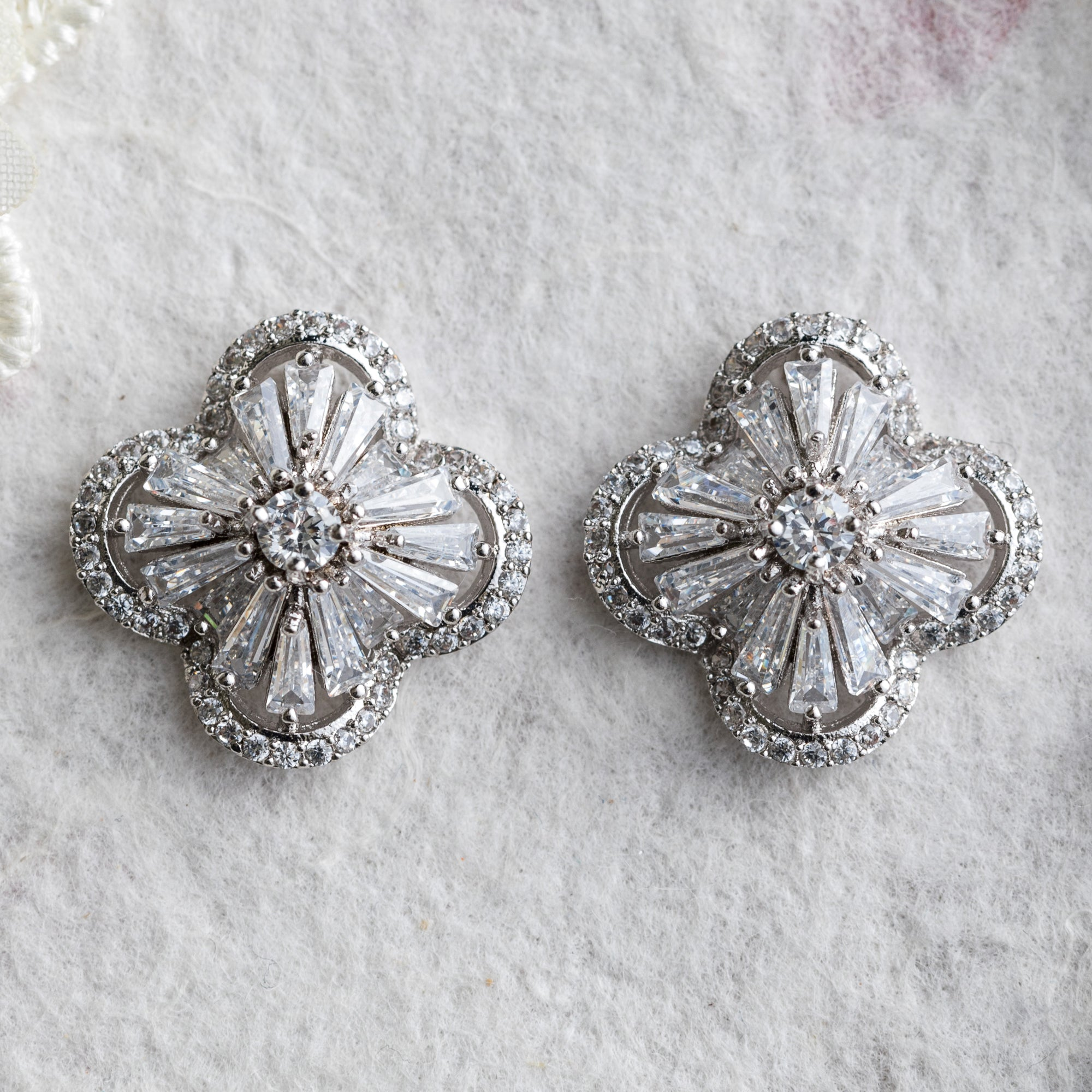Hina silver crystal stud earrings