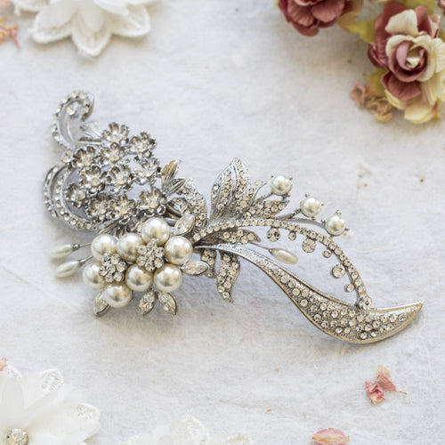 Honore silver crystal hairpiece