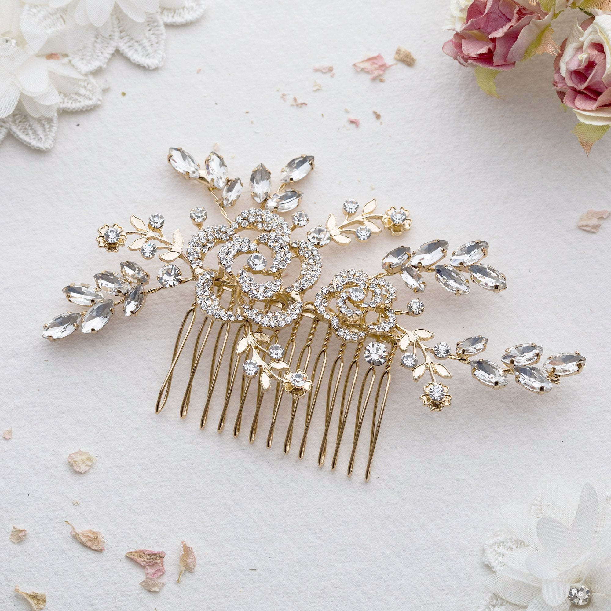 Iris crystal gold hair comb