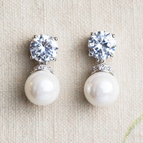 Jane pearl and crystal earrings