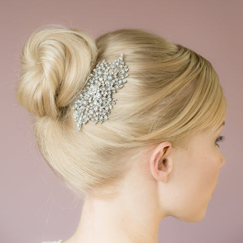Jennifer crystal silver hair comb
