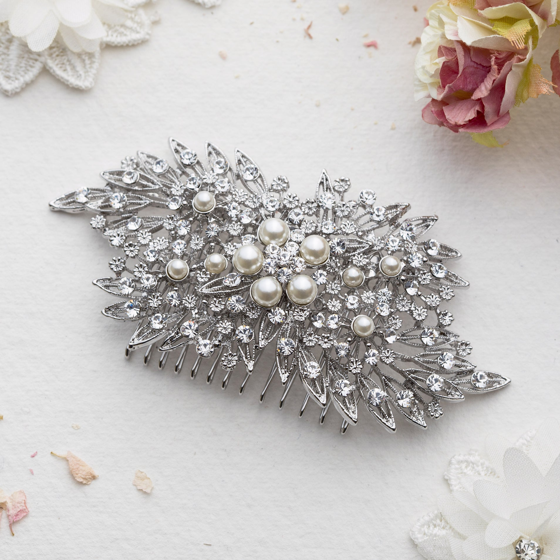 Jennifer crystal and pearl silver hair comb