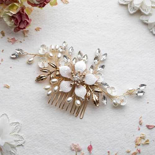 Katherine flower gold hair comb
