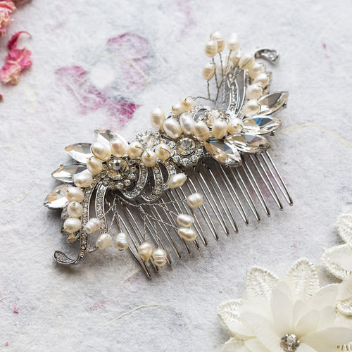 Katie pearl and crystal hair comb