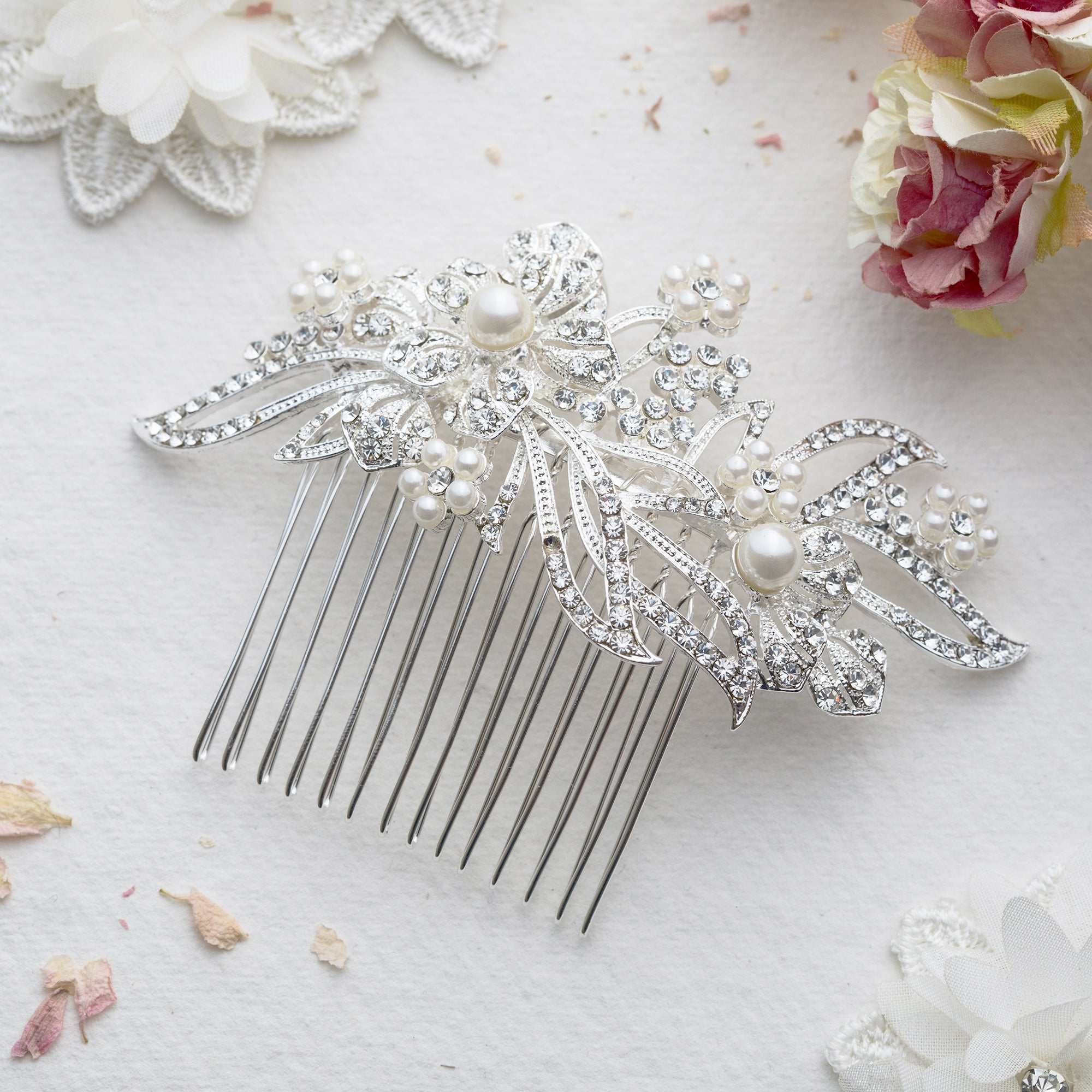 Lily crystal hair comb