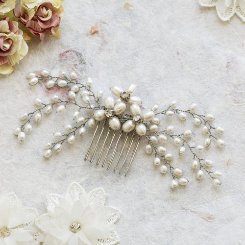 Lotte pearl and silver hair comb