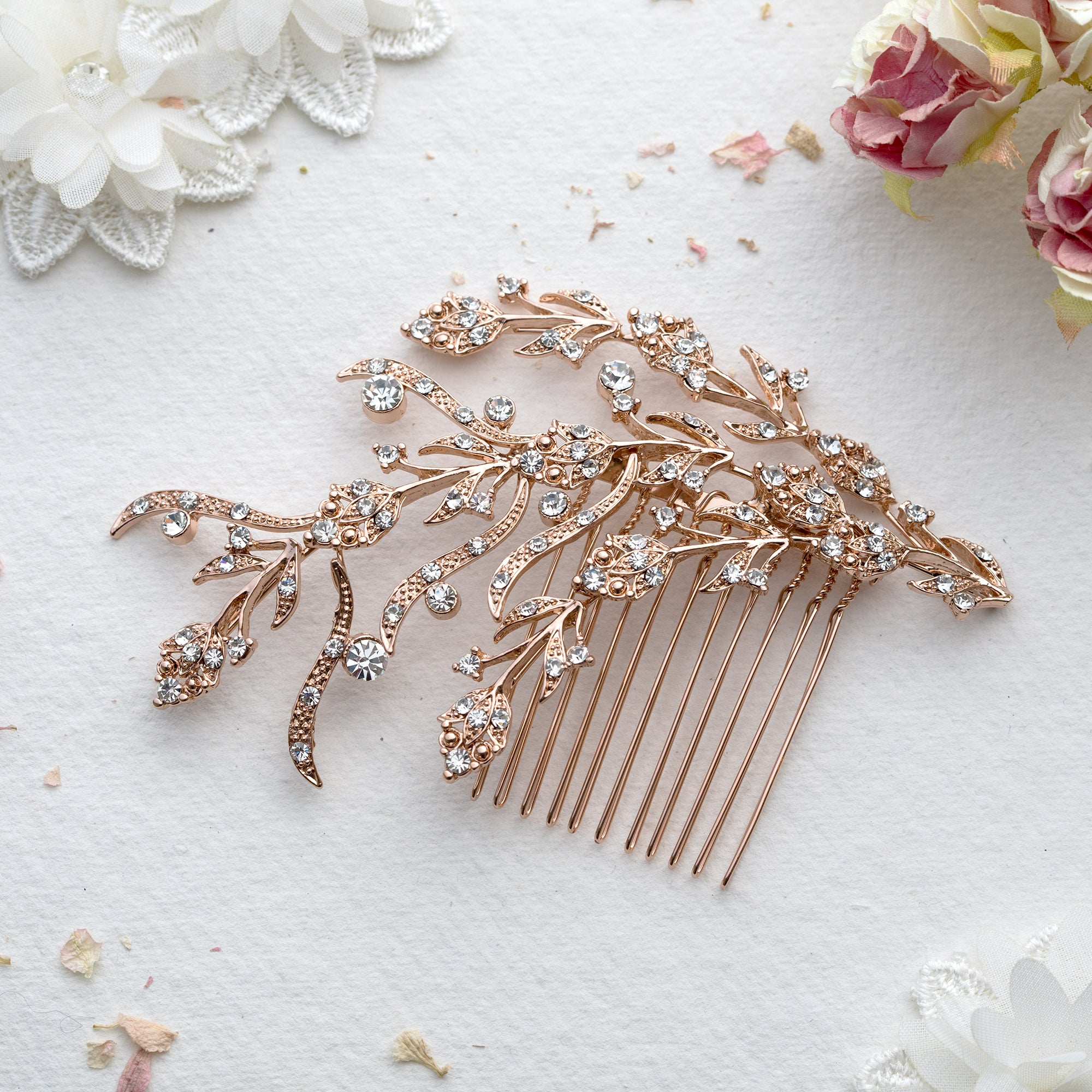 Luna crystal and silver hair comb