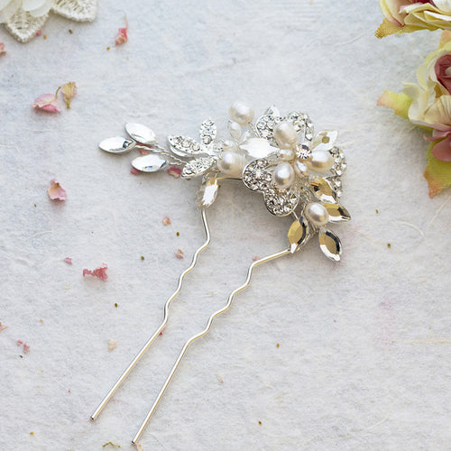 Marcia pearl and crystal silver hair pin