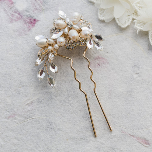 Marcia pearl and crystal gold hair pin