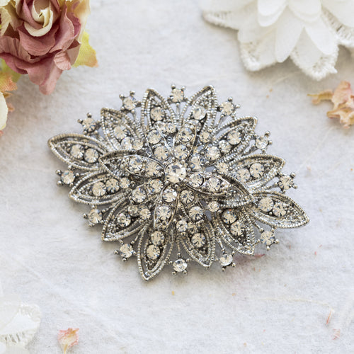 Margaux crystal silver brooch