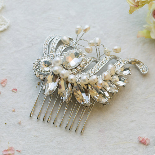 Marie pearl and crystal hair comb