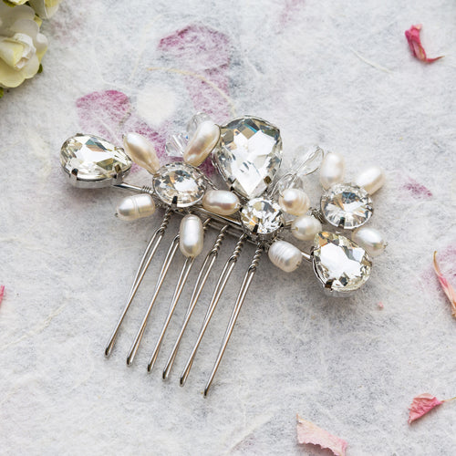 Mary pearl and crystal hair comb