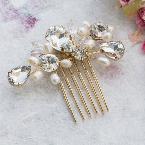 Mary gold crystal hair comb