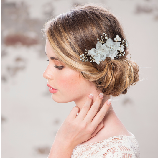 Mette silk flower gold hair comb
