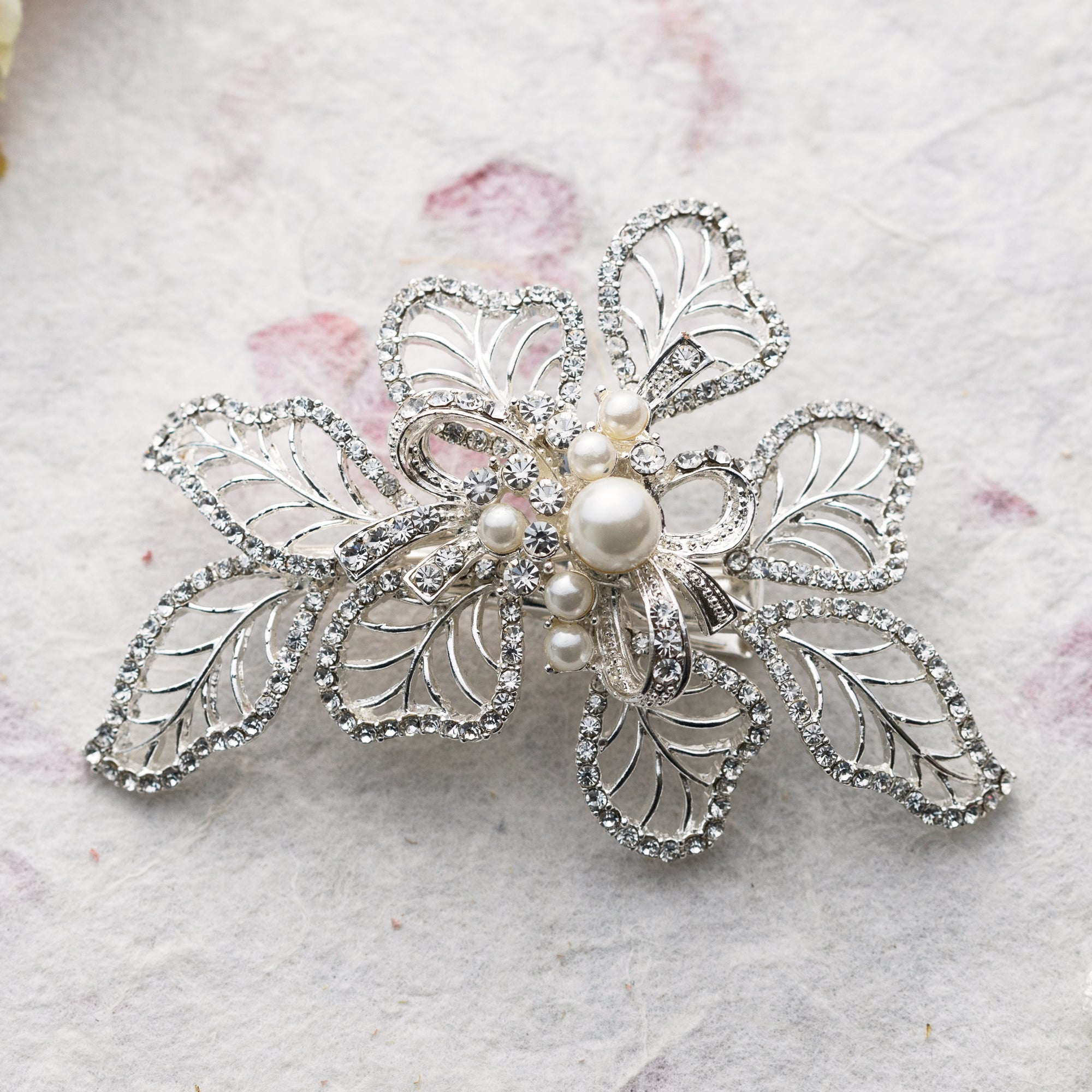 Mia pearl and crystal hair slide