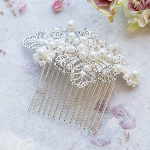 Angeline pearl and crystal hair comb