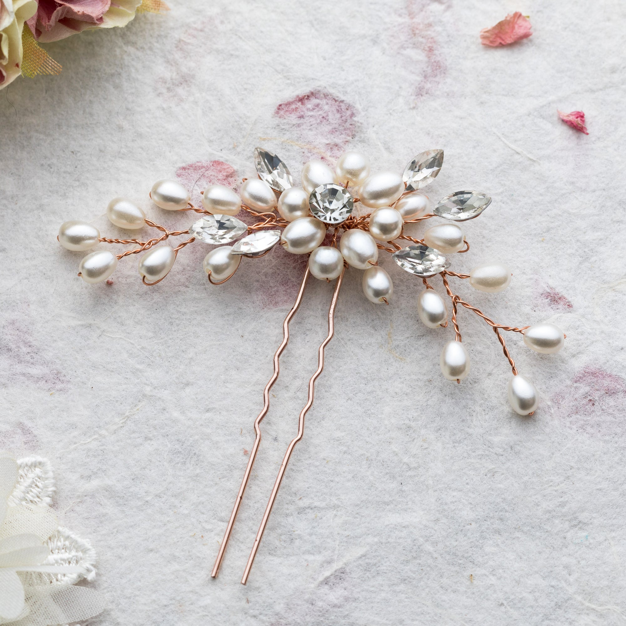 Miley pearl and crystal rose gold hair pin