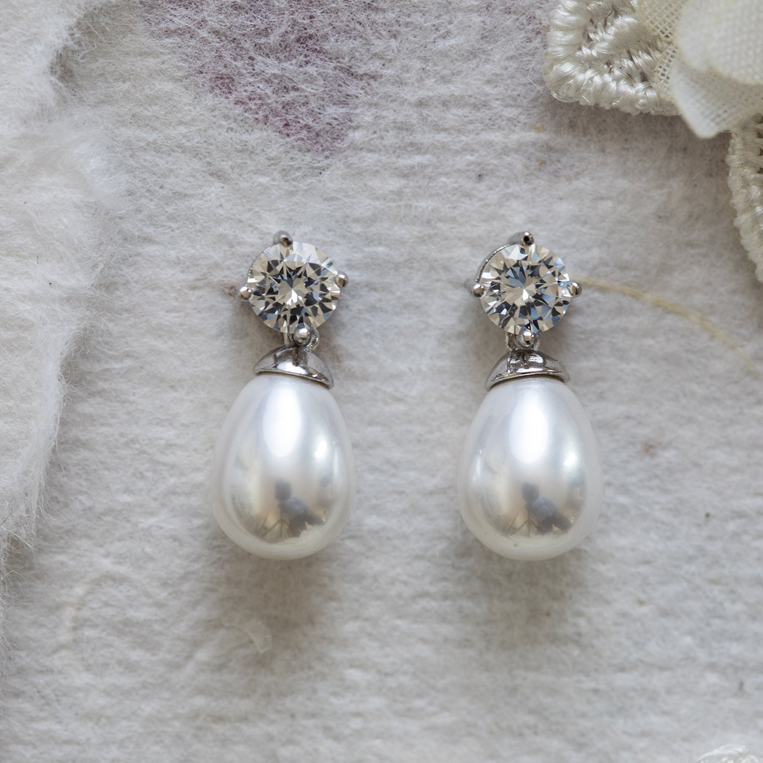Mireille pearl and crystal earrings