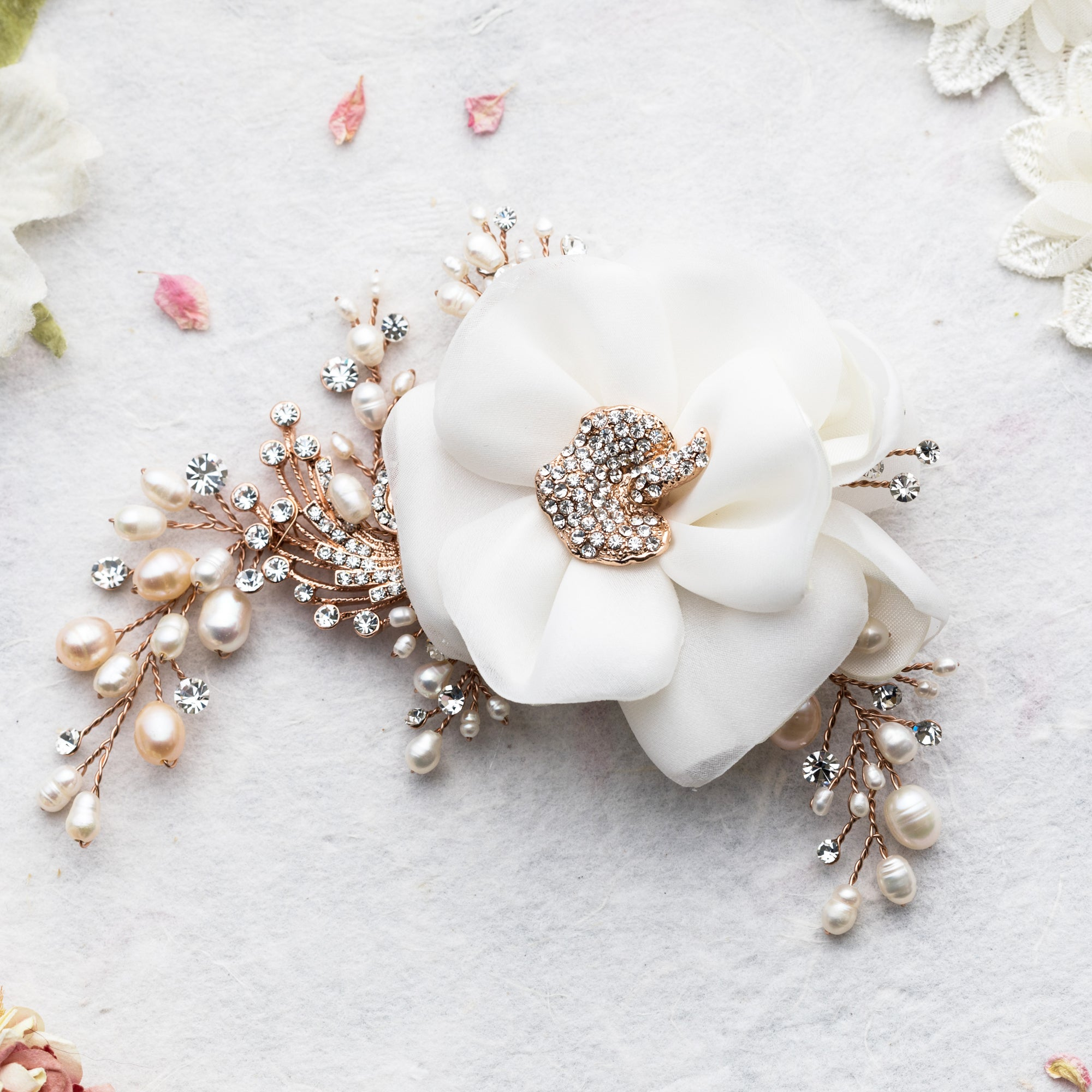 Miriam rose gold corsage hairpiece