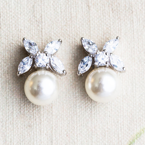 Nixie pearl and crystal earrings