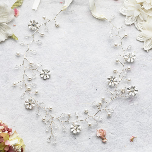 Ola crystal silver floral hairvine