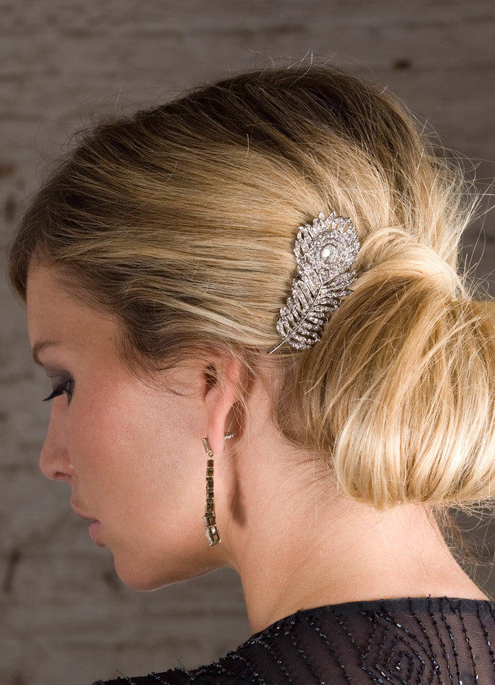 Carla crystal gold feather hair comb