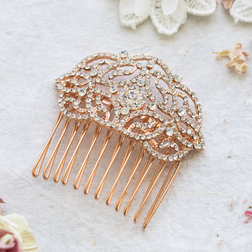 Petra crystal rose gold hair comb