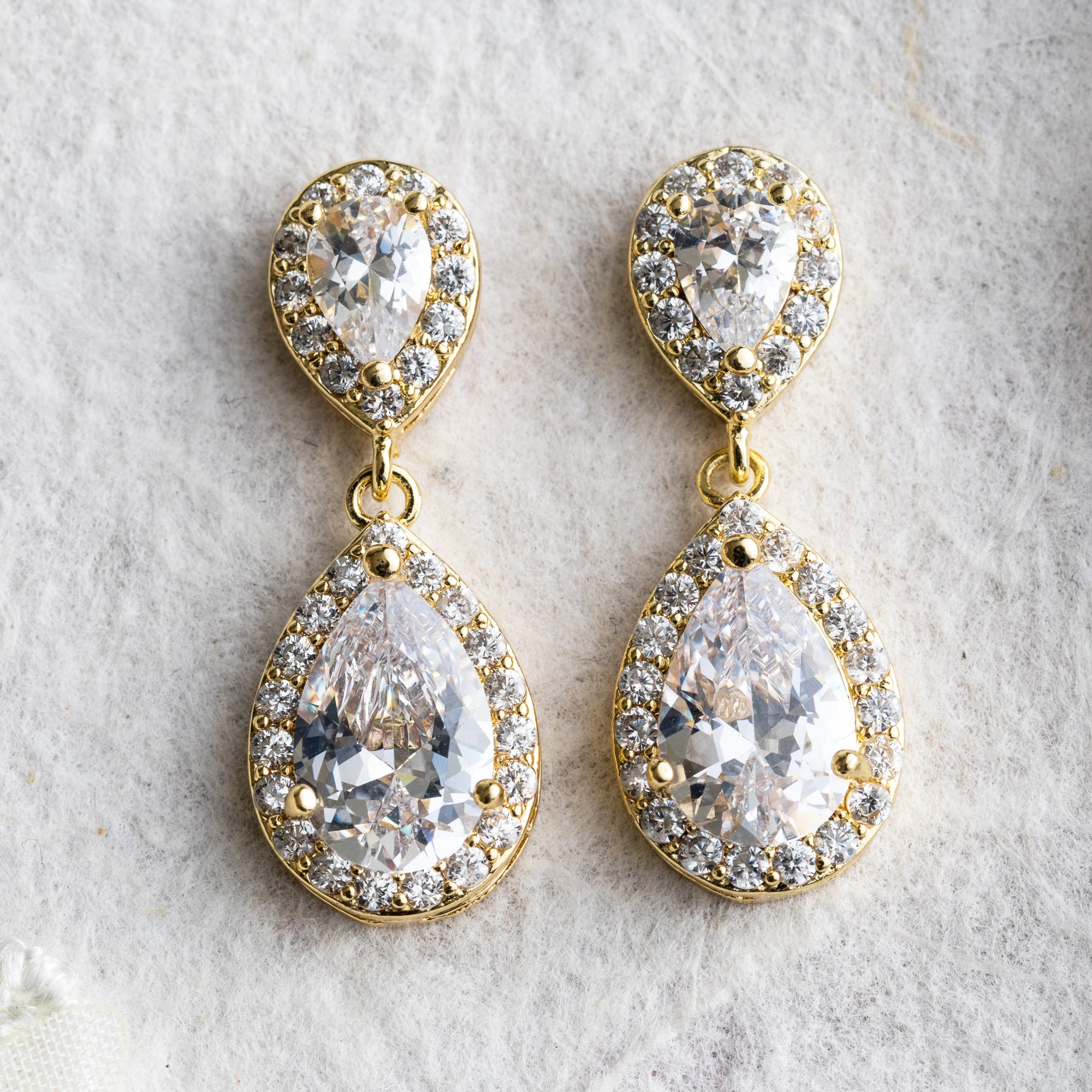 Preeti crystal and gold drop earrings