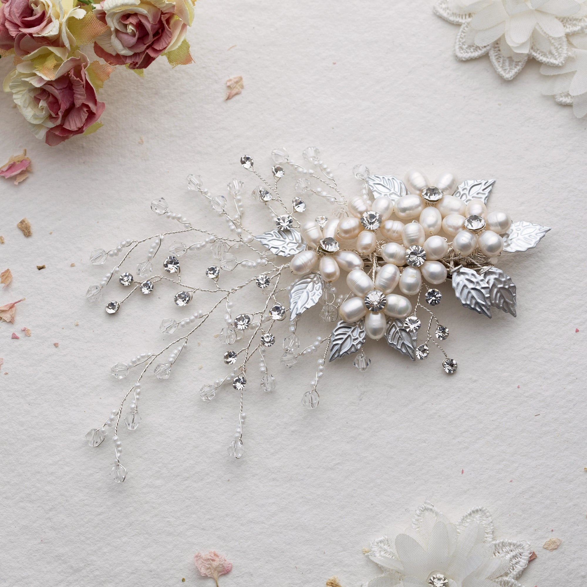 Rikka crystal and pearl silver hair clip