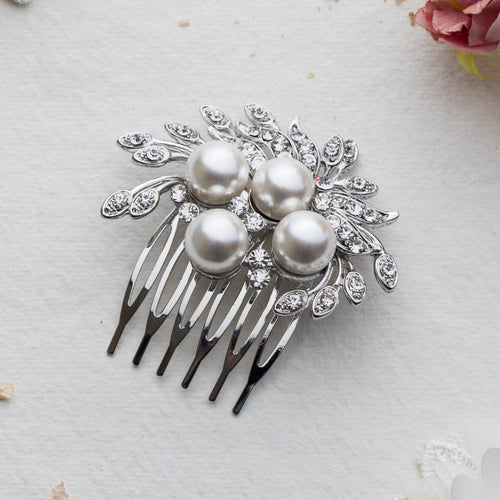 Romina pearl and crystal hair comb