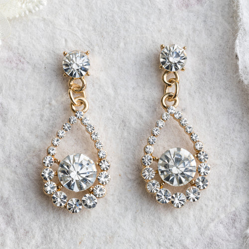 Roxy crystal and gold drop earrings