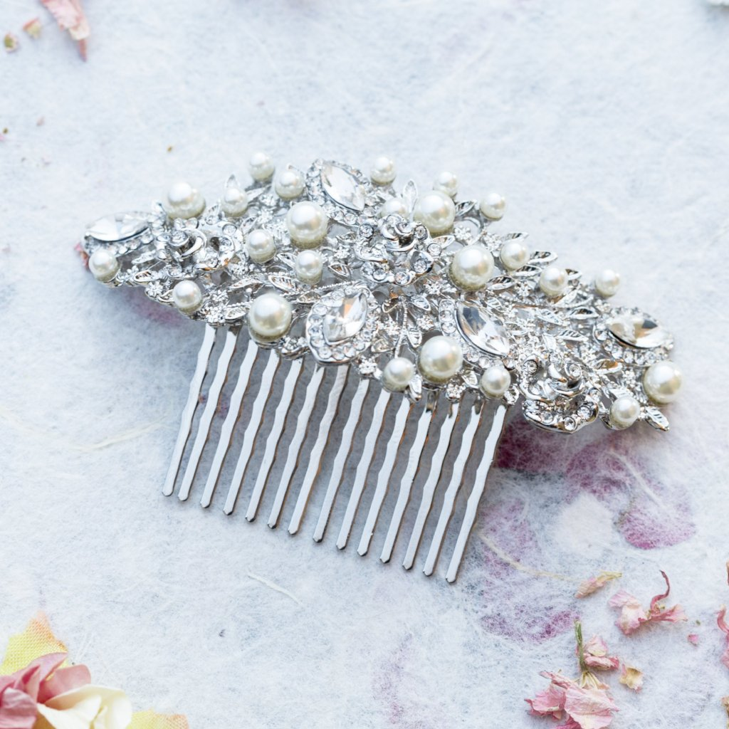 Sally crystal and pearl hair comb