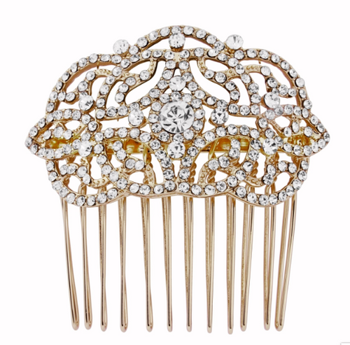 Petra crystal gold hair comb