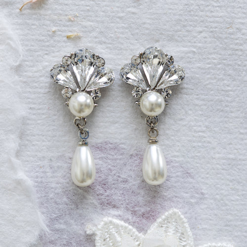 Shiloh crystal and pearl earrings