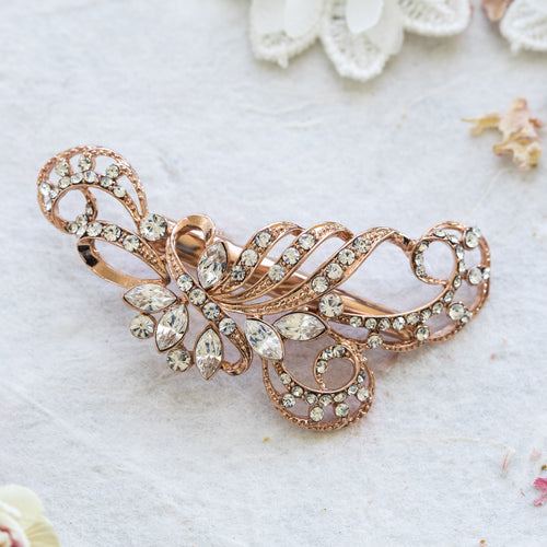 Simone rose gold crystal hair clip