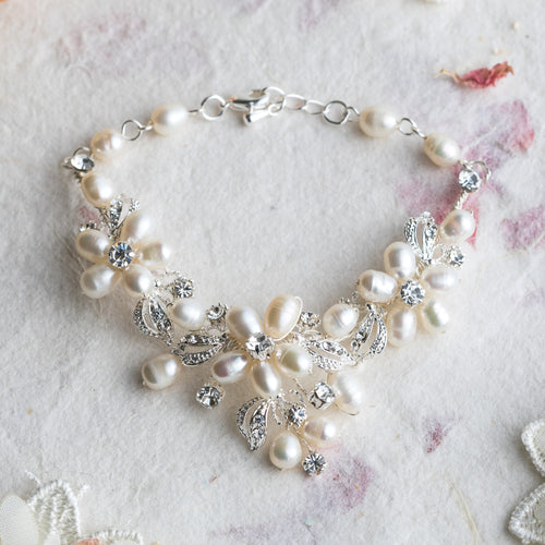 Sinead silver and pearl bracelet